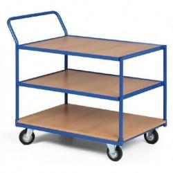 Třípolicový vozík - police překližka v kovovém rámu 1000 x 700 mm,400 kg