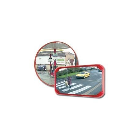 Mnohoúčelové zrcadlo-červený rám, průměr 500mm