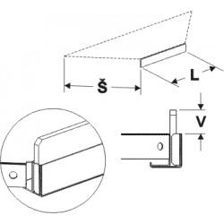 Čelní opěra nízká koutová 90° (plast bilý) 200mm