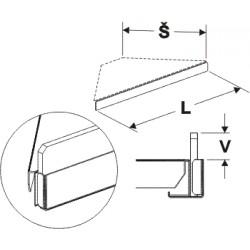 Čelní opěra nízká rohová (plast bílý) 200mm