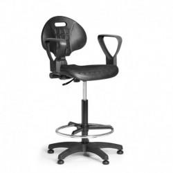 Pracovní židle PUR s opěrným kruhem a područkami