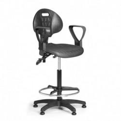 Pracovní židle PUR 3 s opěrným kruhem a područkami