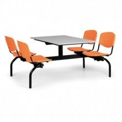 Jídelní set - oranžová plastová sedadla