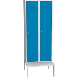 Dvoudvéřová kovová šatní skříň s podstavnou lavicí
