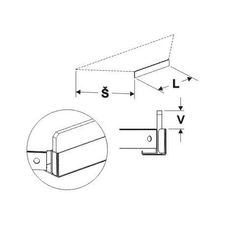 Čelní opěra nízká koutová 90° (plast bilý) 400mm