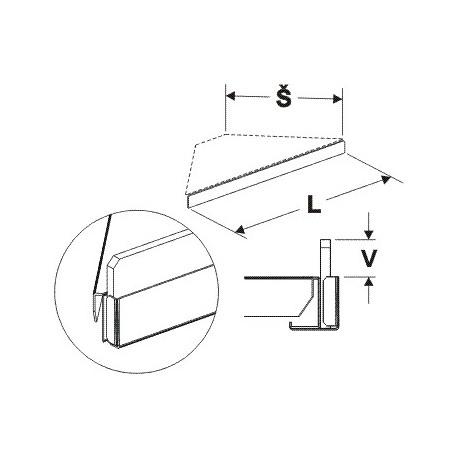 Čelní opěra nízká rohová (plast bílý) 600mm