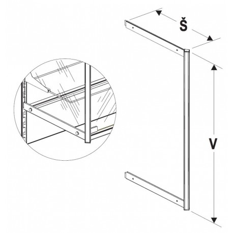 Nosník vysoké vitríny 400/2000mm