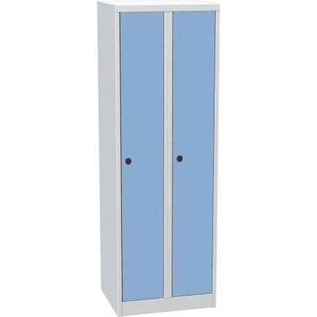 Dvoudvéřová kovová šatní skříň s kompaktními laminátovými dveřmi