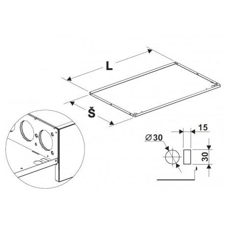 deska zastřešení rovná s osvětlením 1250mm