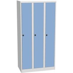 Třídvéřová kovová šatní skříň s kompaktními laminátovými dveřmi