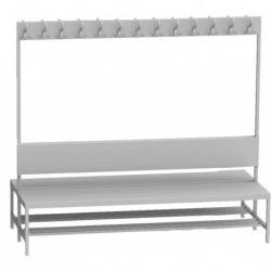 Oboustranná šatnová lavice s věšáky