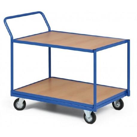 Dvoupolicový vozík - police překližka v kovovém rámu 1000 x 700 mm,300 kg