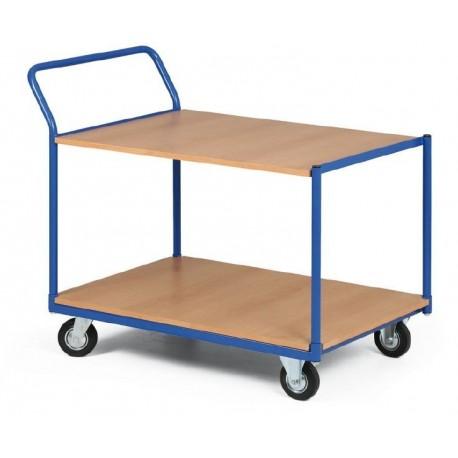 Dvoupolicový vozík - police dřevotříska 1000 x 700 mm, nosnost 400 kg