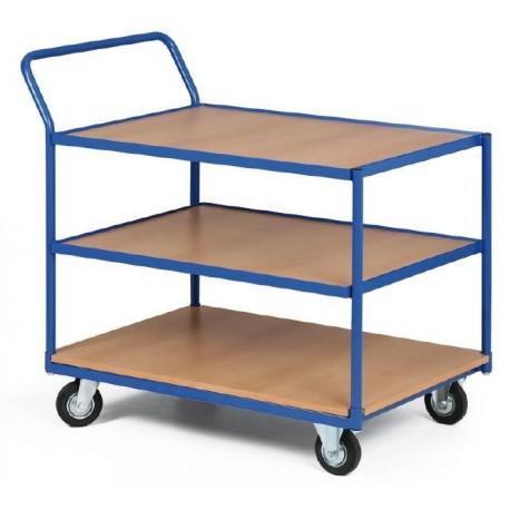 Třípolicový vozík - police překližka v kovovém rámu 1000 x 700 mm,200 kg