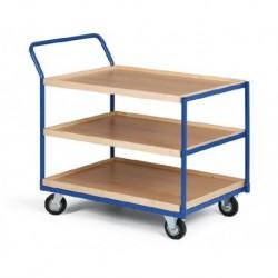 Třípolicový vozík - police překližka s hranou 1000 x 700 mm,400 kg