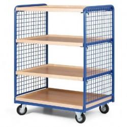 Čtyřpolicový vozík - police dřevotříska 1000 x 700 mm,400 kg